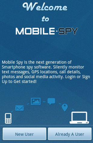 Mobile Spy Login Screen